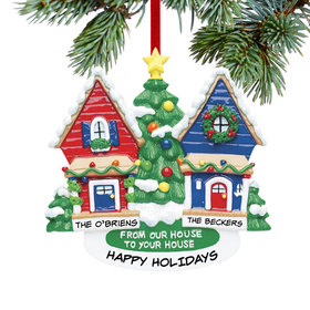 From Our House To Your House Red House and Blue House Ornament