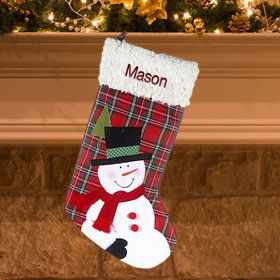 Plaid Snowman Stocking