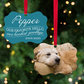 Our Favorite Hello, Our Hardest Goodbye - Pink Dog Ornament