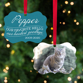 Our Favorite Hello, Our Hardest Goodbye - Pink Cat Ornament