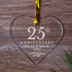 25th Anniversary Heart (Etched) Ornament