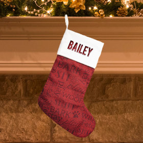 Personalized Stocking Word Cloud Dog