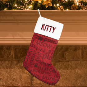 Personalized Stocking Word Cloud Cat