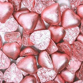 Light pink Solid Dark Chocolate Foiled Hearts