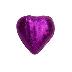 Purple Solid Milk Chocolate Foiled Hearts
