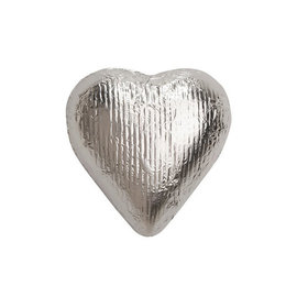 Silver Solid Milk Chocolate Foiled Hearts