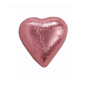 Pink Solid Dark Chocolate Foiled Heart