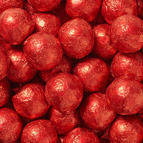 Red Solid Milk Chocolate Foiled Balls