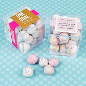 Personalized Business Teamwork JUST CANDY® favor cube with Premium Confetti Cookie Bites