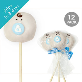 Baby Face with Blue Accent Vanilla Cake Pops (12 Pack)