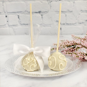 White Scrolls Double Chocolate Cake Pops with Sugar Cookie Base (12 Pack)