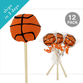 Basketball Double Chocolate Cake Pops (12 Pack)