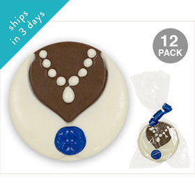 Bride White & Milk Chocolate Covered OREO Cookies with Blue Flower (12 Pack)