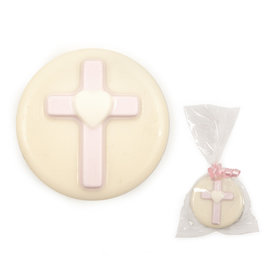 White Chocolate Covered OREO Cookie with Pink Cross (12 Pack)