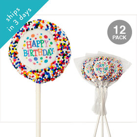 Happy Birthday Chocolate Covered OREO Cookies with Sprinkles (12 Pack)