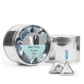 Personalized Anniversary Favor Assembled Medium Round Plastic Tin with Hershey's Kisses