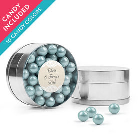 Personalized Anniversary Favor Assembled Small Round Plastic Tin with Sixlets
