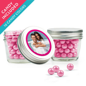 Personalized Anniversary Favor Assembled Small Mason Jar with Sixlets