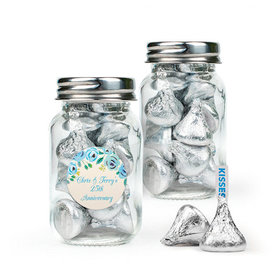 Personalized Anniversary Favor Assembled Mini Mason Jar with Hershey's Kisses