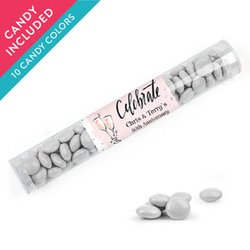 Personalized Anniversary Favor Assembled Clear Tube with Just Candy Milk Chocolate Minis