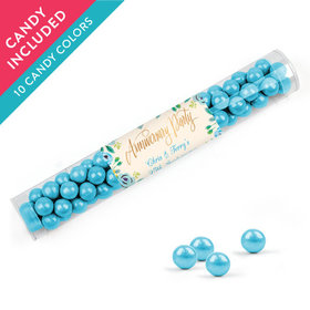Personalized Anniversary Favor Assembled Clear Tube with Sixlets