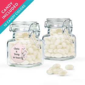 Personalized Anniversary Favor Assembled Swing Top Square Jar with Just Candy Jelly Beans