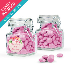 Personalized Anniversary Favor Assembled Swing Top Square Jar with Just Candy Milk Chocolate Minis