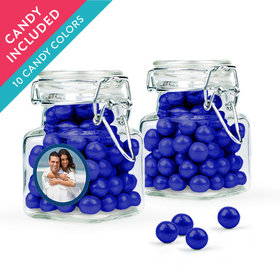 Personalized Anniversary Favor Assembled Swing Top Square Jar with Sixlets