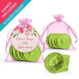 Personalized Anniversary Favor Assembled Organza Bag, Gift tag with Milk Chocolate Coins