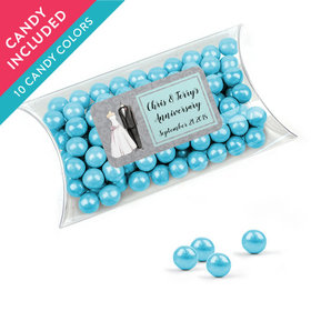 Personalized Anniversary Favor Assembled Pillow Box with Sixlets