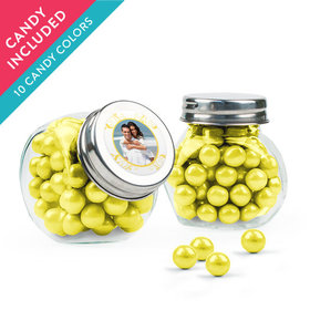 Personalized Anniversary Favor Assembled Mini Side Jar with Sixlets