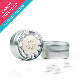 Personalized Anniversary Favor Assembled Mini Round Tin with Sixlets