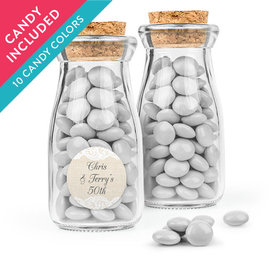 Personalized Anniversary Favor Assembled Glass Bottle with Cork Top with Just Candy Milk Chocolate Minis