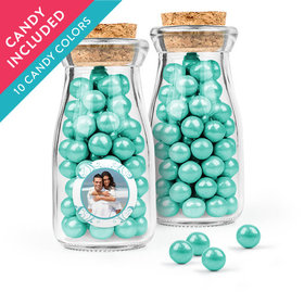 Personalized Anniversary Favor Assembled Glass Bottle with Cork Top with Sixlets