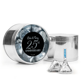 Personalized 25th Anniversary Favor Assembled Medium Round Plastic Tin with Hershey's Kisses