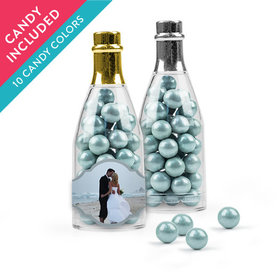 Personalized 25th Anniversary Favor Assembled Champagne Bottle with Sixlets