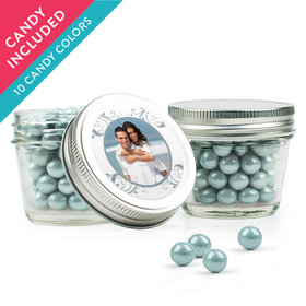 Personalized 25th Anniversary Favor Assembled Small Mason Jar with Sixlets