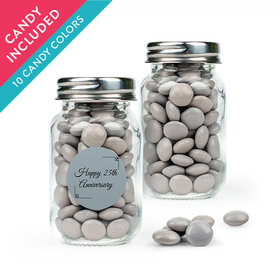 Personalized 25th Anniversary Favor Assembled Mini Mason Jar with Just Candy Milk Chocolate Minis