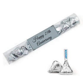 Personalized 25th Anniversary Favor Assembled Clear Tube with Hershey's Kisses
