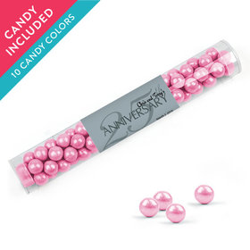 Personalized 25th Anniversary Favor Assembled Clear Tube with Sixlets