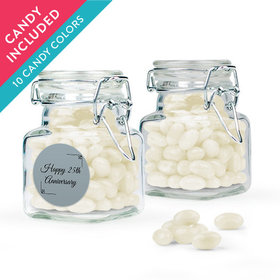 Personalized 25th Anniversary Favor Assembled Swing Top Square Jar with Just Candy Jelly Beans