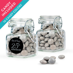 Personalized 25th Anniversary Favor Assembled Swing Top Square Jar with Just Candy Milk Chocolate Minis