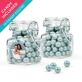 Personalized 25th Anniversary Favor Assembled Swing Top Square Jar with Sixlets