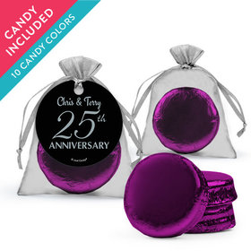 Personalized 25th Anniversary Favor Assembled Organza Bag Hang tag with Chocolate Covered Oreo Cookie