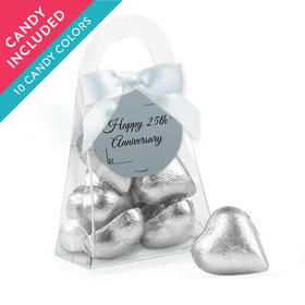 Personalized 25th Anniversary Favor Assembled Purse with Milk Chocolate Hearts