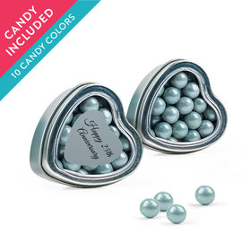 Personalized 25th Anniversary Favor Assembled Heart Tin with Sixlets