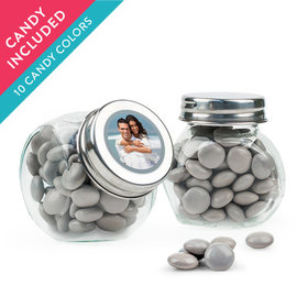 Personalized 25th Anniversary Favor Assembled Mini Side Jar with Just Candy Milk Chocolate Minis