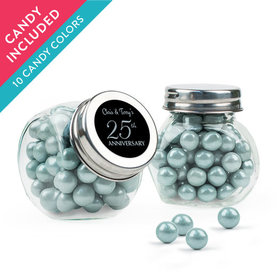 Personalized 25th Anniversary Favor Assembled Mini Side Jar with Sixlets