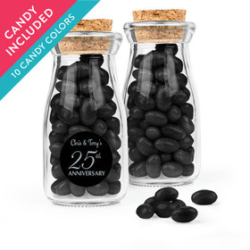 Personalized 25th Anniversary Favor Assembled Glass Bottle with Cork Top with Just Candy Jelly Beans