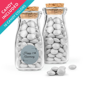 Personalized 25th Anniversary Favor Assembled Glass Bottle with Cork Top with Just Candy Milk Chocolate Minis